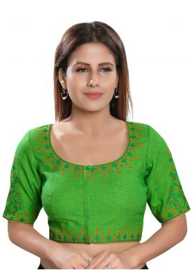 Cotton Embroidered Designer Blouse in Green