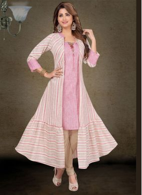 Cotton Embroidered Designer Salwar Suit in Rose Pink