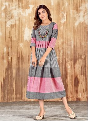 Cotton Embroidered Grey and Pink Party Wear Kurti