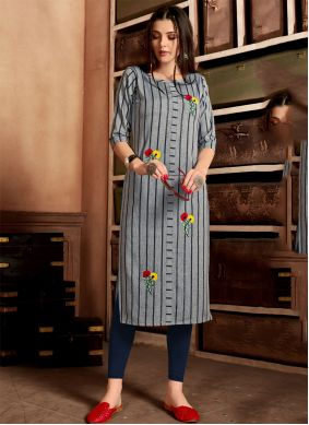Cotton Embroidered Grey Casual Kurti