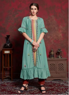 Cotton Embroidered Multi Colour and Sea Green Party Wear Kurti
