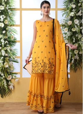 Cotton Embroidered Mustard Designer Palazzo Suit