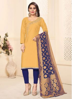 Cotton Embroidered Mustard Pant Style Suit
