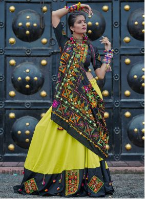 Green Cotton Embroidered Navratri Special