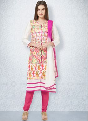 Cotton Embroidered Off White Churidar Designer Suit