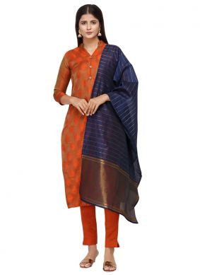 Cotton Embroidered Orange Pant Style Suit