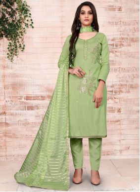 Cotton Embroidered Pant Style Suit
