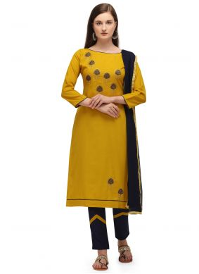 Cotton Embroidered Pant Style Suit in Mustard