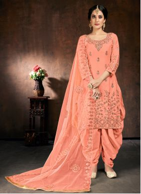 Cotton Embroidered Pink Designer Patiala Suit