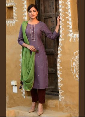 Cotton Embroidered Purple Readymade Suit