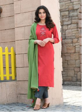 Cotton Embroidered Red Readymade Suit