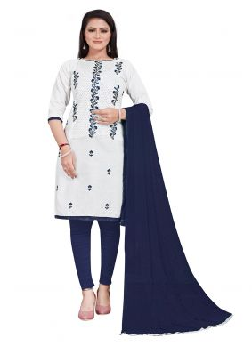 Cotton Embroidered White Salwar Suit