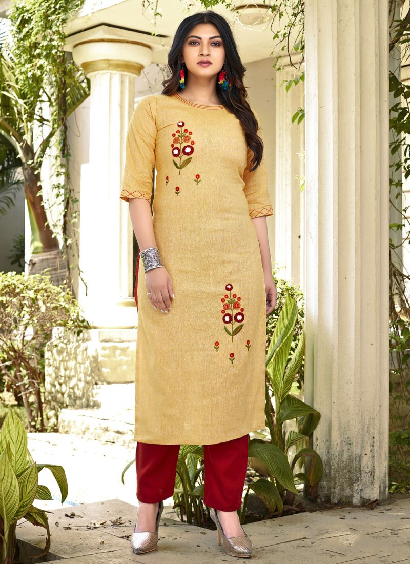 Cotton Embroidered Yellow Casual Kurti