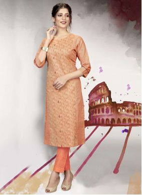 Cotton Fancy Designer Kurti in Peach