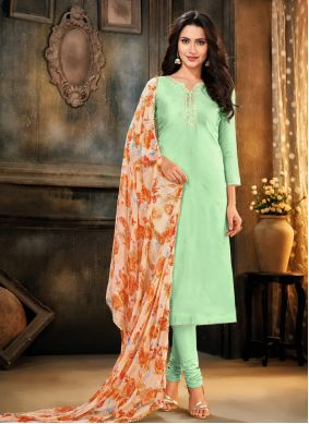 Green Cotton Festival Trendy Churidar Salwar Suit