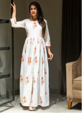 Printed Work Cotton Off White Gown