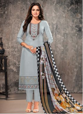 Cotton Grey Embroidered Straight Suit
