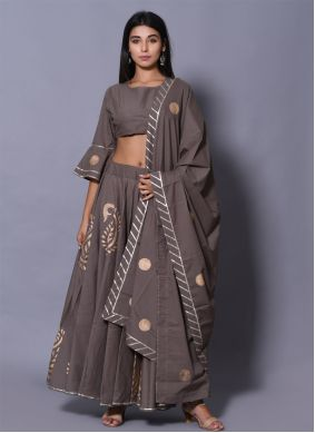 Cotton Grey Lehenga Choli