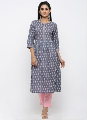 Cotton Grey Print Salwar Kameez