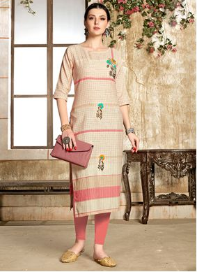 Cotton Handwork Cream Casual Kurti