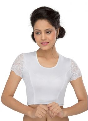 Cotton Lycra Silver Plain Designer Blouse