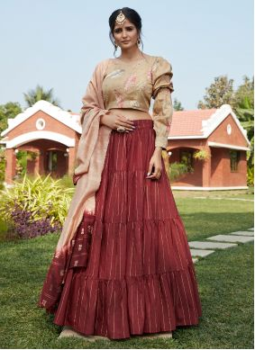 Cotton Maroon Weaving A Line Lehenga Choli