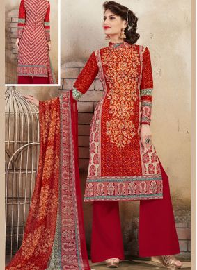 Cotton Mirror Palazzo Salwar Kameez in Red