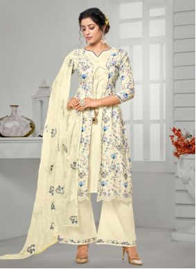 Cotton Off White Digital Print Bollywood Salwar Kameez
