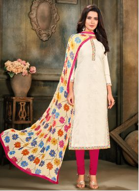 Cotton Off White Embroidered Pant Style Suit