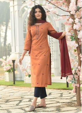 Cotton Orange Embroidered Readymade Suit