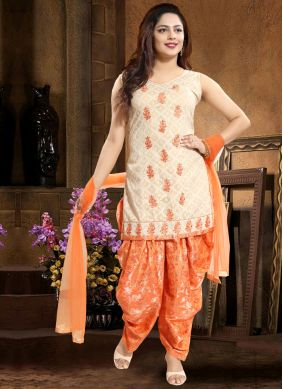 Cotton   Orange Punjabi Suit