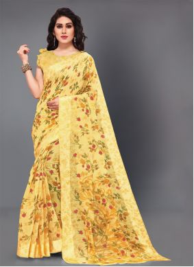 Yellow Cotton Party Classic Saree