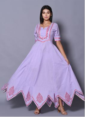 Purple Cotton Party Designer Gown