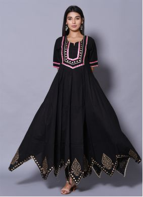 Black Cotton Party Designer Gown
