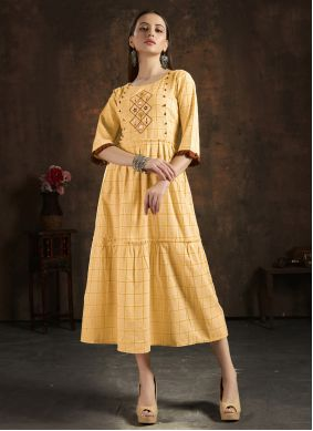 Cotton Party Wear Kurti in Mustard