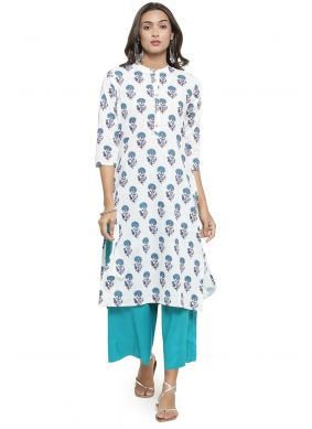 Cotton Party Wear Kurti in Off White