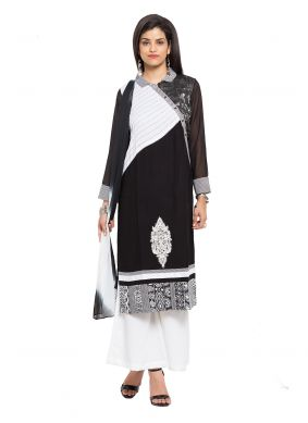 Cotton Patchwork Readymade Salwar Kameez in Black