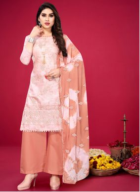 Cotton Pink Embroidered Designer Palazzo Suit