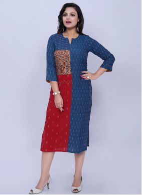 Cotton Print Casual Kurti in Blue