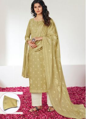 Cotton Print Green Designer Straight Salwar Kameez