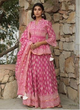 Pink Cotton Print Lehenga Choli