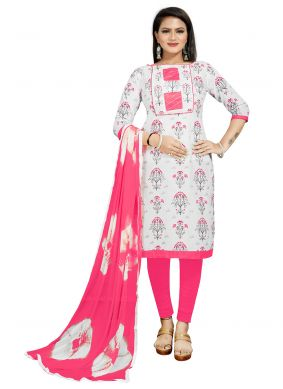 Cotton Print Off White and Pink Churidar Suit