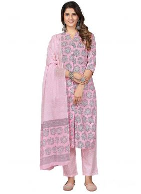 Cotton Print Pant Style Suit in Hot Pink