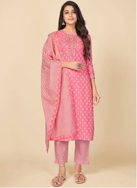 Cotton Print Pant Style Suit in Pink