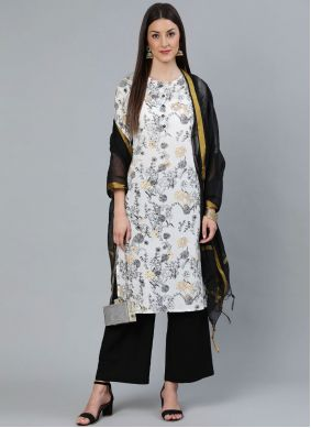 Cotton Print Readymade Suit in Off White