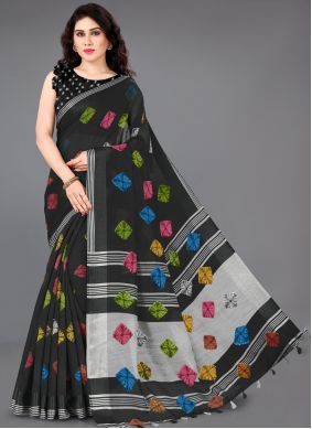 Cotton Printed Black Classic Saree