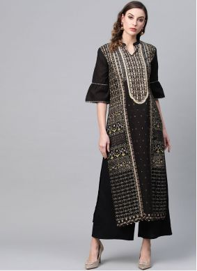 Cotton Printed Black Party Wear Kurti