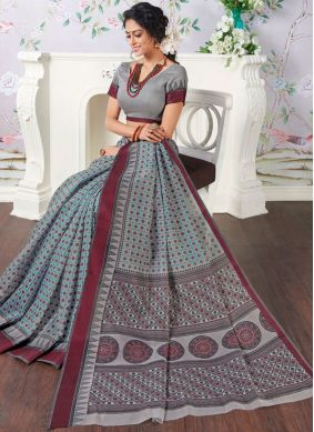 Cotton Printed Casual Saree in Grey