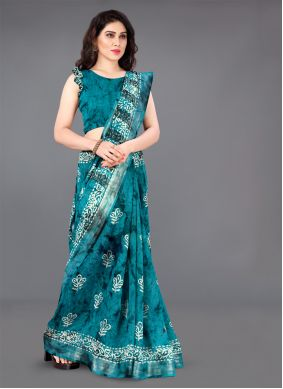Cotton Printed Casual Saree in Turquoise