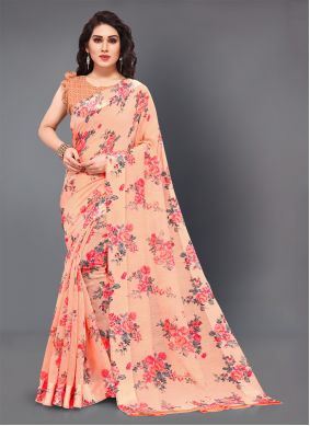 Cotton Printed Designer Saree in Peach